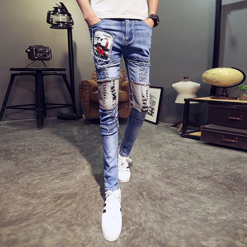 Designer Jeans Men Streetwear Men Punk Jeans Spodnie Jean Męskie Slim Fit Casual Skinny Jeans Men All Match Comfortable Trousers