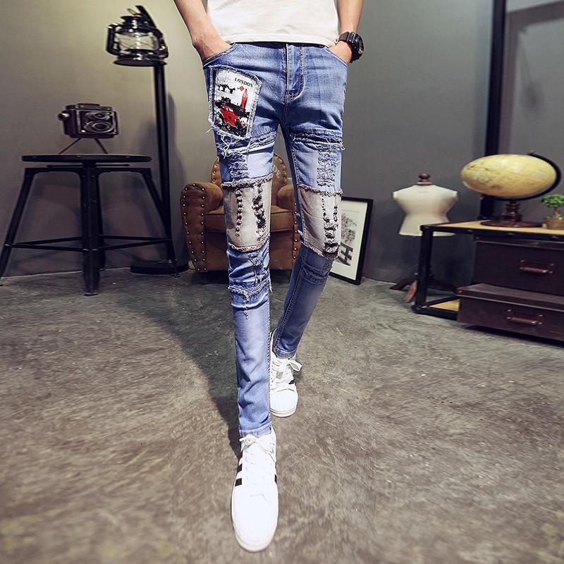 Designer Jeans Men Streetwear Men Punk Jeans Spodnie Jean Męskie Slim Fit Casual Skinny Jeans Men All Match Comfortable Trousers