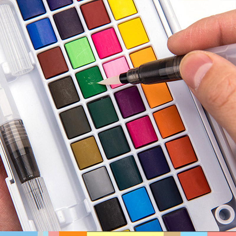 48 colores de pigmento sólido acuarela pinturas Set con agua Color portátil pincel pluma profesional pintura arte suministros para niños 1 Uds., arcoíris, fruta, banderas, cinta de corrección decorativa, decoración Kawaii, suministros escolares de oficina