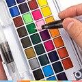 48 cores pigmento sólido aquarela tintas conjunto com água cor portátil escova caneta pintura profissional suprimentos da arte para crianças