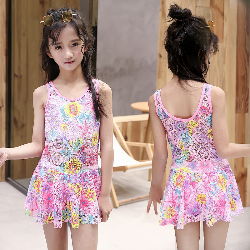 Korean-style KID'S Swimwear Girls Floral Dress-Tour Bathing Suit Small Qing Xin Wen Quan Swimwear