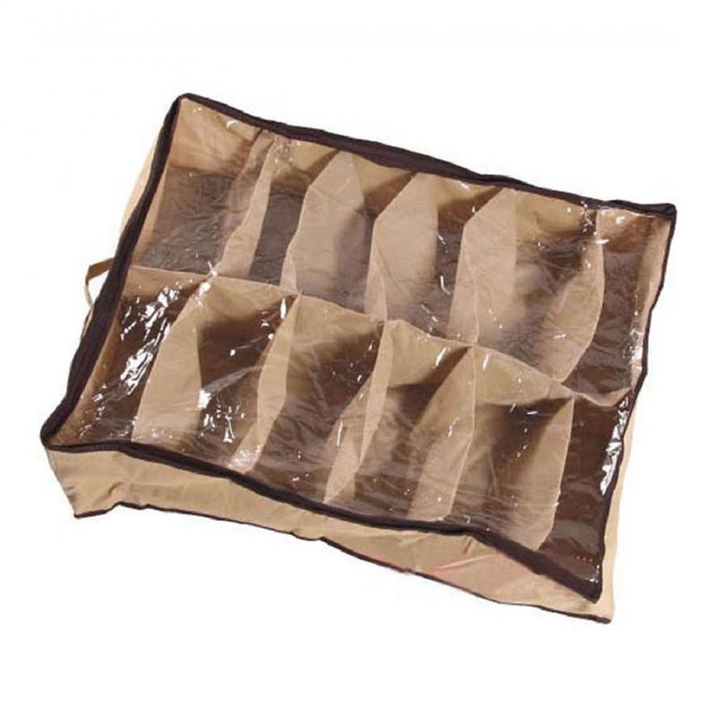 Non-Woven Box Shoe Storage Bag Organizer Shoes Bag Shoe Tidy Under Bed Storage Storer Storage Boxes12pair/bag Zip Box Shoes Bag