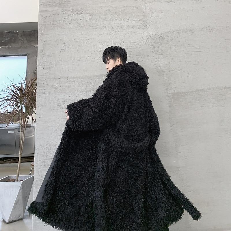 Male Streetwear Gothic Cloak Belt Cardigan Coat Outerwear Men Feather Tassel Loose Casual Long Hooded Trench Jacket