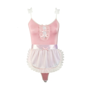 Image 5 - Women maidservant Cosplay Costume Black Pink Maid Uniforms Sexy Lace Sling Leotard with Ruffles Aprons Erotic Lingerie Outfit