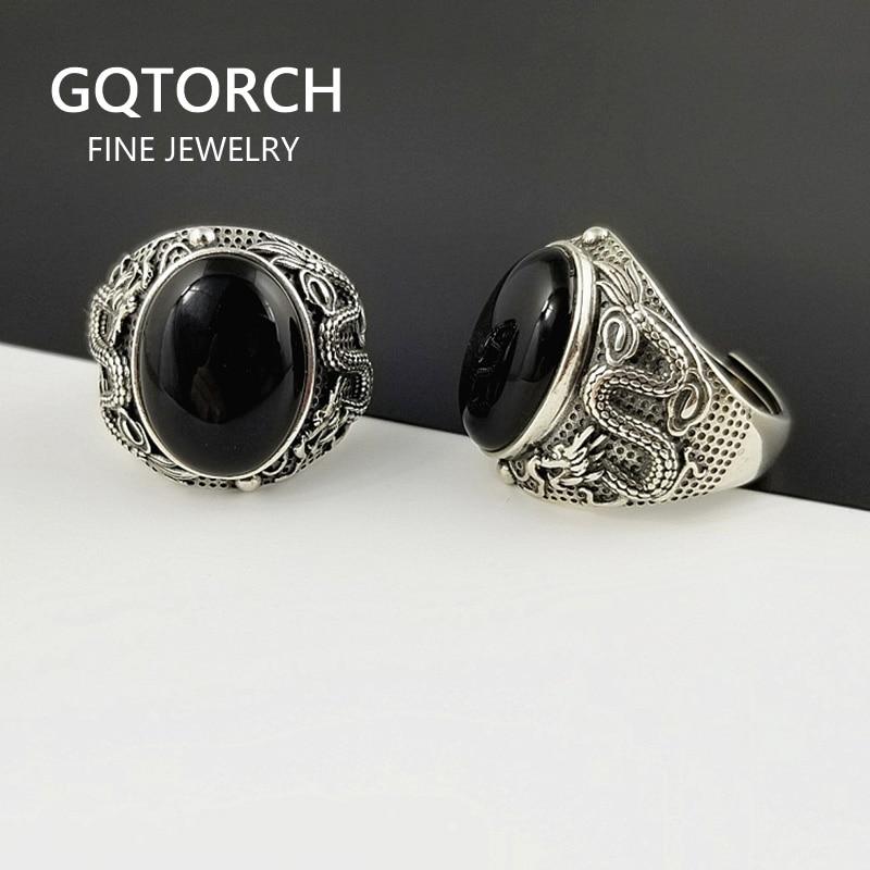 925 bagues en argent Sterling pour homme avec pierres naturel noir Onyx Dragon gravé rétro Vintage hommes anneaux réglable