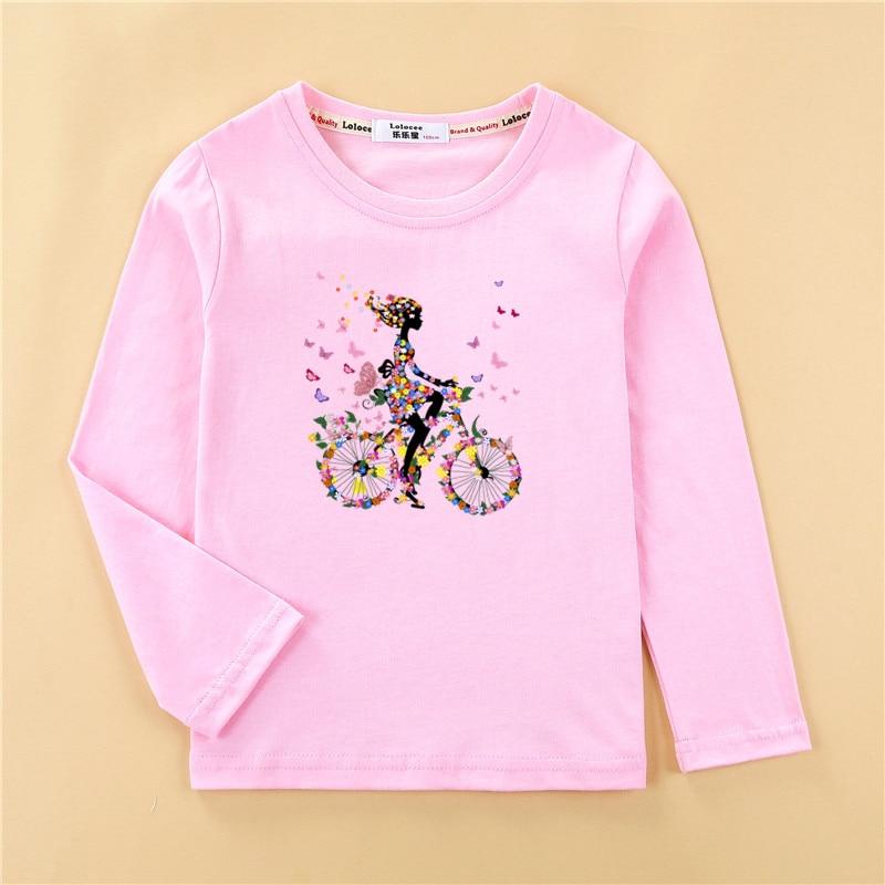 Kids funny fruit bike 3D t shirt baby girl long sleeve print cotton top tees children lemon pattern clothes boy autumn shirt 4