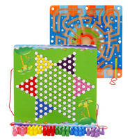 Aunnular Shape Chinese Checkers And Labyrinth Board Game Two In One Magnetic Guiding Pen Board Maze Labyrinth Puzzle Toy