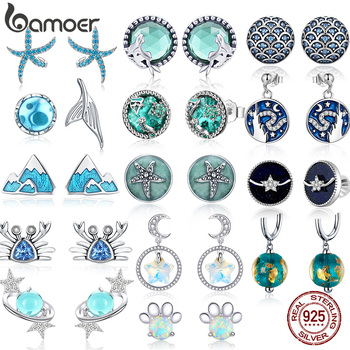 bamoer Sea Blue Clear CZ Stud Earrings for Women 925 Sterling Silver Earring Wave Starfish Round Planet Star Jewelry Earring ani 925 sterling silver women stud earring cz earring handmade jewelry bird shape design brincos para as mulheres 925 jewelry