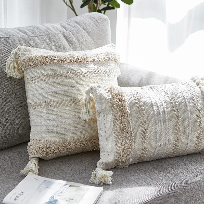 Home Decor Boho Pillowcase Sofa Cushion Cover Square Decor Pillows Bedroom Living Room Woven Modern Large Tassel Pillow CoverCushion Cover   -