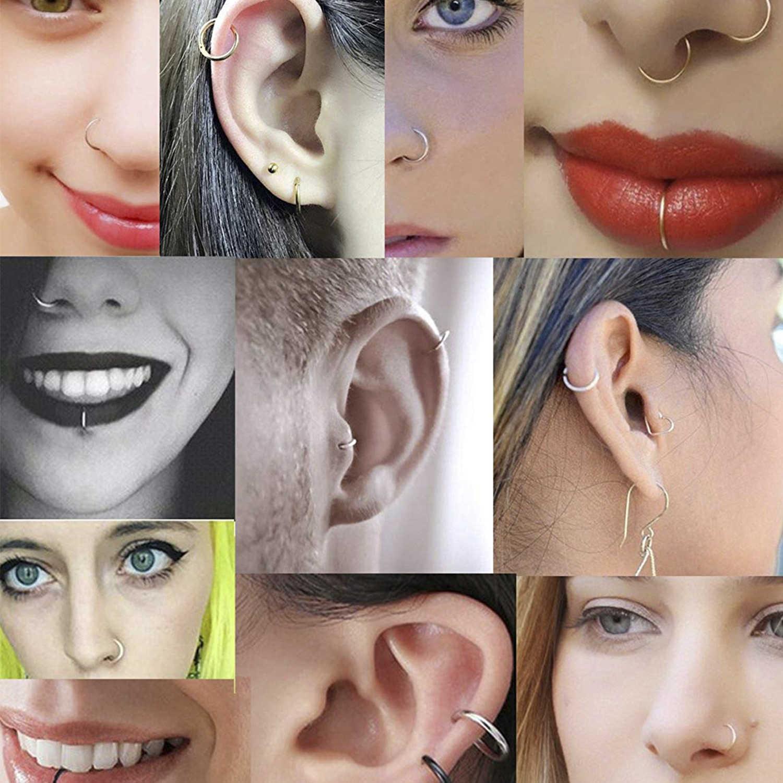 1pair Fake Piercing Trendy 925 Sterling Silver Nose Rings Hoop