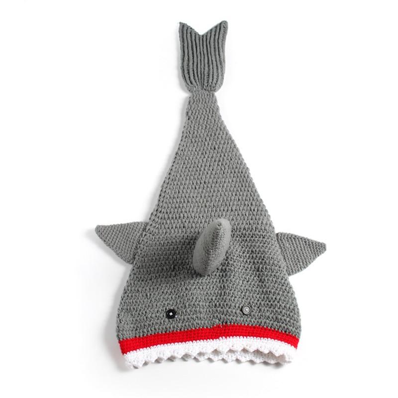 Crochet Knit Baby Shark Tail Blanket Newborn Photography Photo Prop Costume Infant Halloween Shark Cocoon Shower Gift
