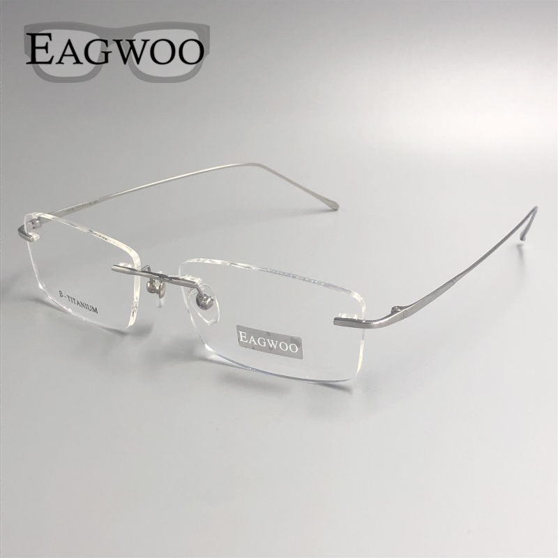 Pure Titanium Eyeglasses Rimless Optical Frame Prescription Spectacle Frameless Glasses For Wide Face With  Long Temple 145mm