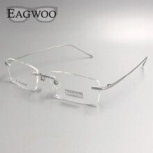Saf titanyum gözlük çerçevesiz optik çerçeve reçete gözlük çerçevesiz gözlük geniş yüz uzun tapınak ile 145mm