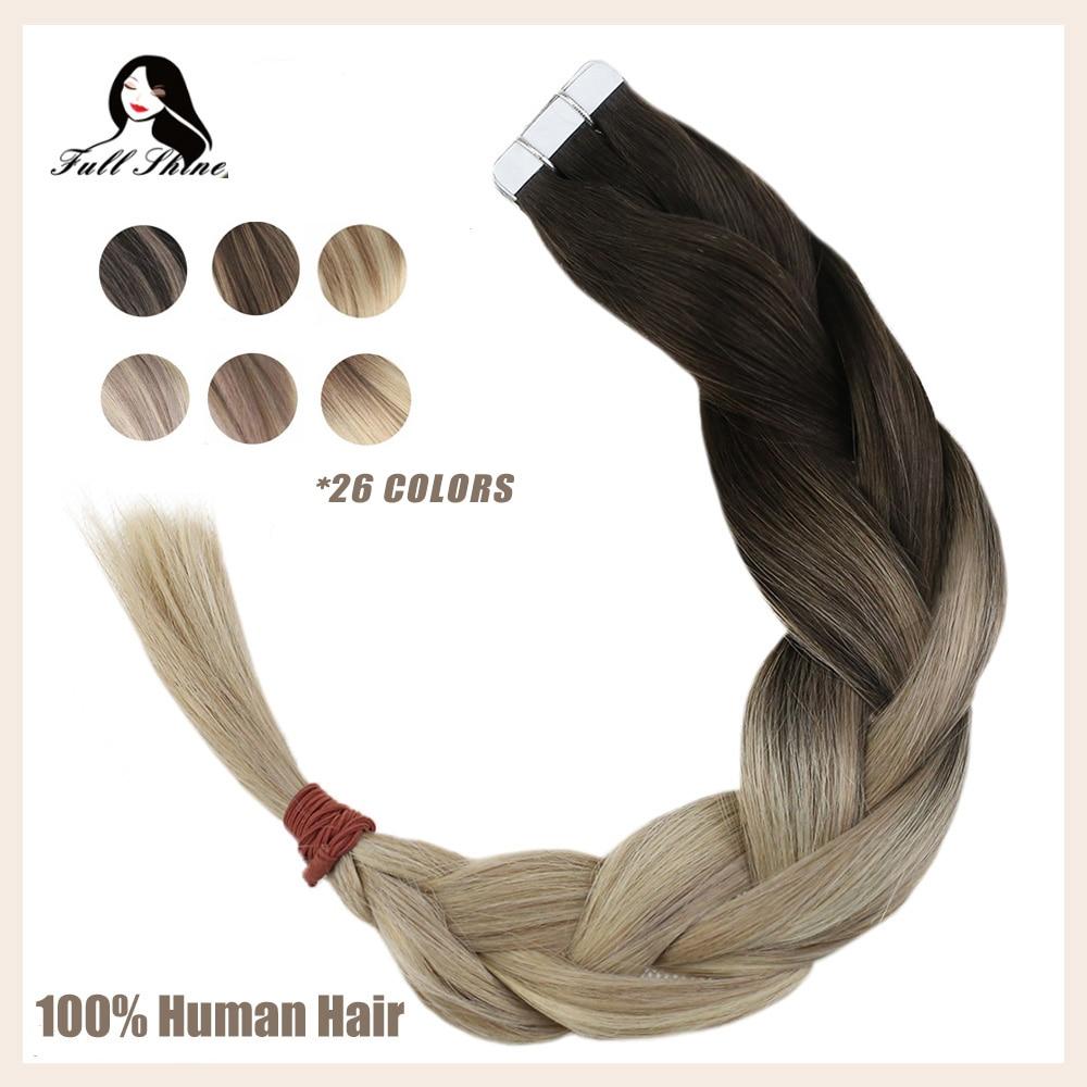 Волосы для наращивания, полностью блестящие, волнистые, волнистые, блонд, Omber, 100% натуральные волосы для наращивания, клей для кожи, remy
