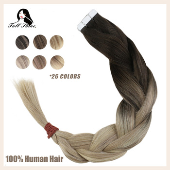 Full Shine Tape In Human Hair Extensions Balayage Blonde Color Omber 100% Human Hair Skin Weft Glue On Extensions machine remy full shine balayage color 3 8 613 hair weft 100g hair weave sew in ribbon hair 100