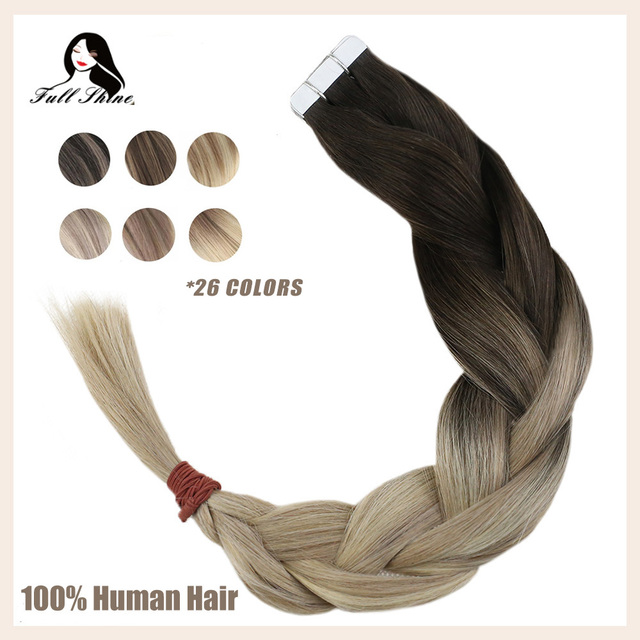 $ US $10.23 Full Shine Tape In Human Hair Extensions Balayage Blonde Color Omber 100% Human Hair Skin Weft Glue On Extensions machine remy