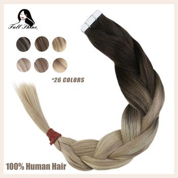 Pełna połysk taśmy w doczepy z ludzkich włosów Balayage blond kolor Omber 100 ludzki włos skóry wątek klej na przedłużanie maszyna remy tanie i dobre opinie Full Shine CN (pochodzenie) 2 5 g sztuka TP-50g Nie remy włosy Brazilian Hair Straight Darker Color Only 30 or 50 Gram