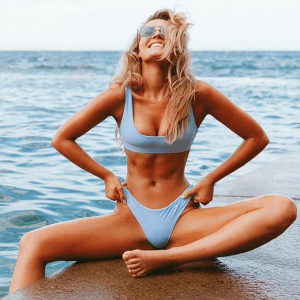 2 Piece Swimwear Women Bikini Push Up Bathing Suit Beach Strapless Brazilian Swimsuit Sexy Red G-string Thong Bikini Bra 2021