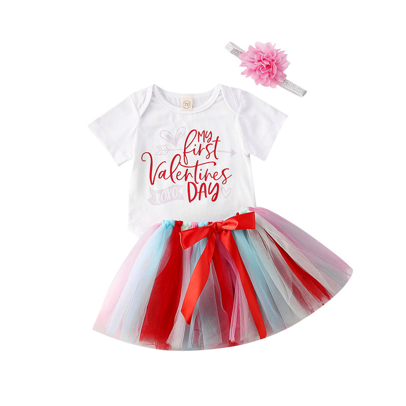 Valentine 3Pcs//Set Newborn Baby Boy Girl My First Valentines Day Cotton Romper Tops Pants Hat Outfit Sets 0-18M