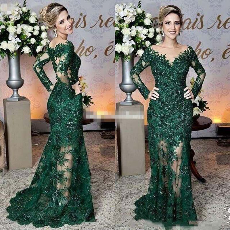 2019 Newest Dark Green Mother Of The Bride Dresses Sheer Jewel Neck Lace Appliques Long Sleeve Mermaid Formal Evening Prom Dress