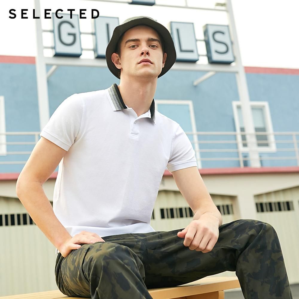 SELECTED Men's 100% Cotton Gradient Collar Short-sleeved Poloshirt S|419206543