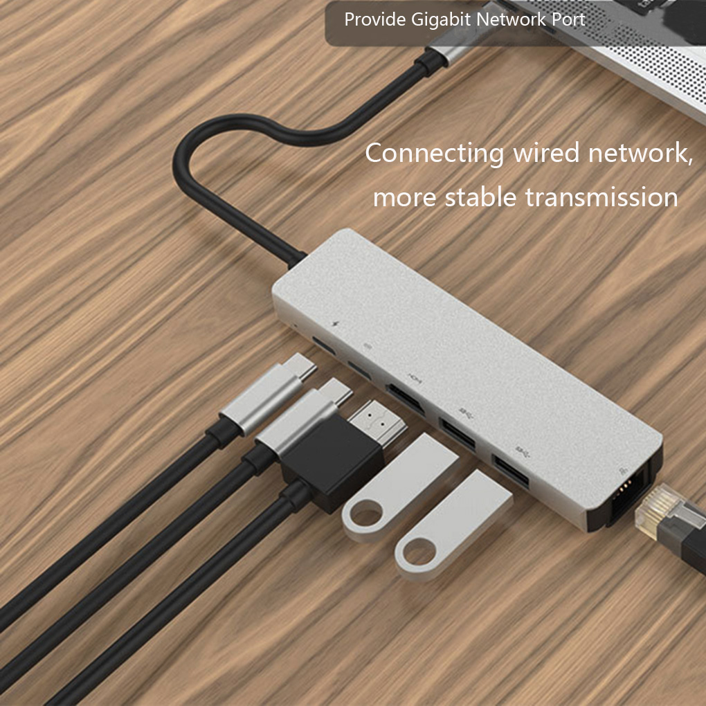 HUB Adapter 6 In 1 USB 3.0 High Speed Ports Type-C Hub Usb-C To 4K 30HZ HD Laptop Rj45 Gigabit Ethernet Network PD Hub