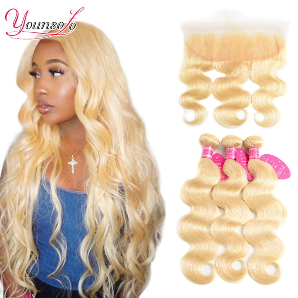 Younsolo 613 Blonde Bundles With Frontal Body Wave Human Hair Lace Frontal Closure With Bundles Brazilian Remy Human Hair