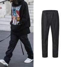 Kanye West-Pantalón de chándal para hombre, ropa de calle informal con cierre de correa de Velcro, pantalones holgados Vintage de Hip Hop
