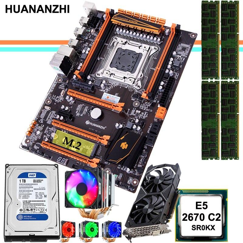 HUANANZHI deluxe X79 carte mère CPU RAM combos avec 1 to SATA HDD GTX1050Ti 4G carte vidéo E5 2670 C2 RAM 32G DDR3 RECC