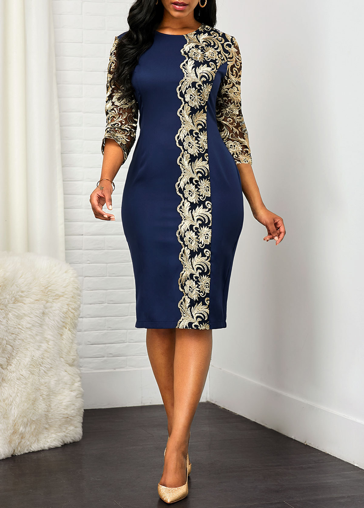 BacklakeGirls 2020 Round Neck Long Sleeve Elegant Lace Pattern Women Cocktail Dress Plus Size Mother Dress Vestido Coctel Corto