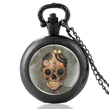 Fashion Classic Steampunk Skull Quartz Glass Dome Punk Pocket Watch Vintage Men Women Clock Chain Pendant Jewelry punk style multilayered paw skull sweater chain for women