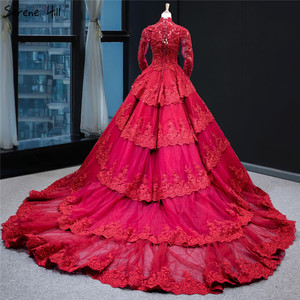 Image 2 - Muslim Wine Red Luxury Lace Wedding Dress Long Sleeve Beading Tiered Bridal Gowns 2020 Real Picture HA2340 Custom Made