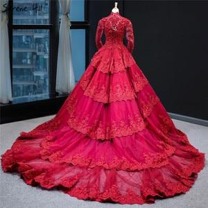 Image 2 - Muzułmańskie wino czerwone luksusowe koronki suknia ślubna z długim rękawem frezowanie warstwowe suknie ślubne 2020 prawdziwe zdjęcie HA2340 Custom Made