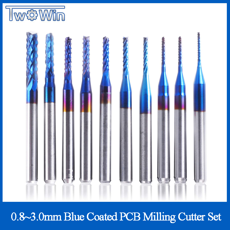 10pcs 3.175 Shank Blue Coated Carbide End Milling Cutter CNC Router Bits Engraving Edge Cutter Endmill 0.8-3.0mm