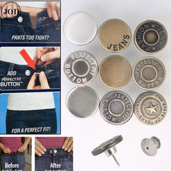 Snap Fastener Metal Pants Buttons for Clothing Jeans Perfect Fit Adjust pin Button self Increase Reduce Waist 17mm Free Sewing