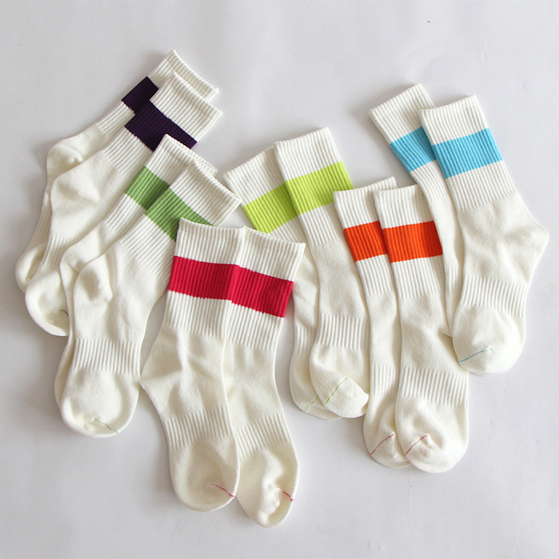 New Fashion Unisex Socks Cotton Personality Breathable Socks Stripe Creative Crew Unisex Casual Breathable Motion Elastic Socks