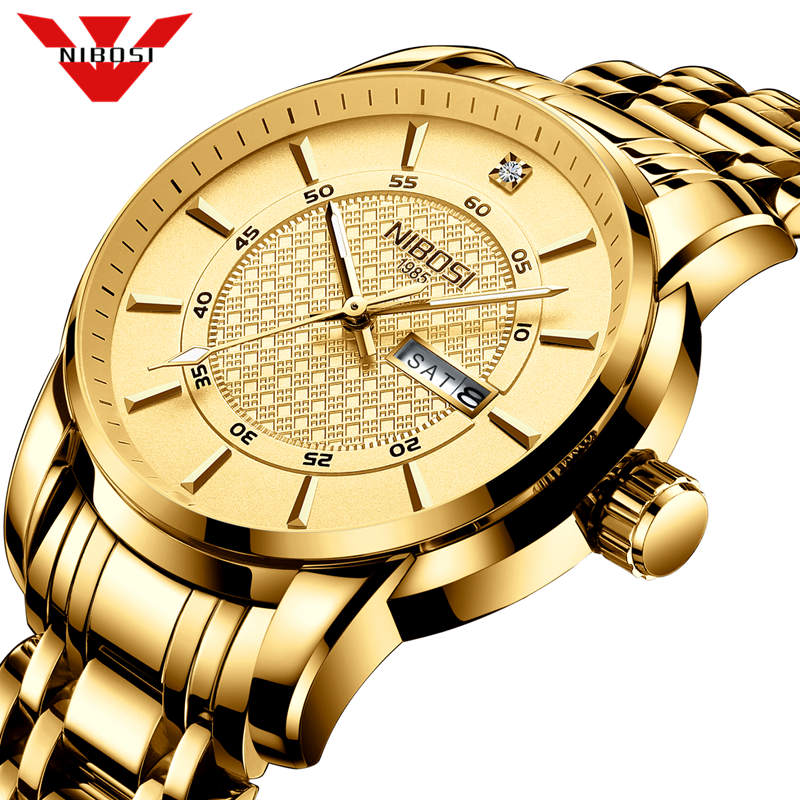 NIBOSI Fashion Casual Watch Men Gold Clock Men Luxury Brand Watch Simple Quartz Wristwatch Male Watches Relogio Masculino