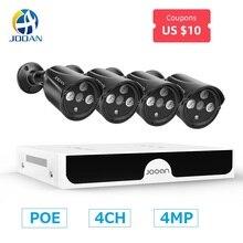 H.265 4MP POE Kit de système de caméra de sécurité caméra IP IR extérieur étanche CCTV Surveillance vidéo NVR ensemble