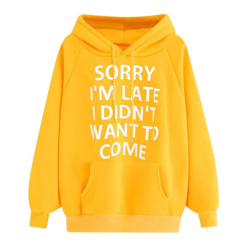 NORMOV Women Hoodies Sweatshirts Autumn Winter Plus Size Long Sleeve Pullover Hoodie Female Pocket Letter Print Hooded Sweatshir