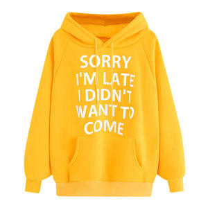 NORMOV Pullover Hoodie Sweatshirts Letter Long-Sleeve Plus-Size Pocket Print Female Winter