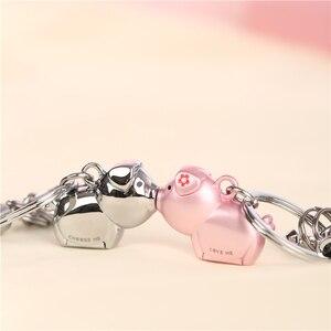 Image 3 - Milesi 3D kuss schwein paar keychain für Liebhaber Geschenk Schmuckstück schöne schlüssel halter frauen präsentieren Chaveiro sleutelhanger auto schlüsselring