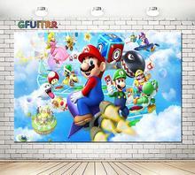 GFUITRR personaggio dei cartoni animati Super Marios fondali fotografia bambini festa di compleanno sfondo fotografico vinile studio fotografico puntelli