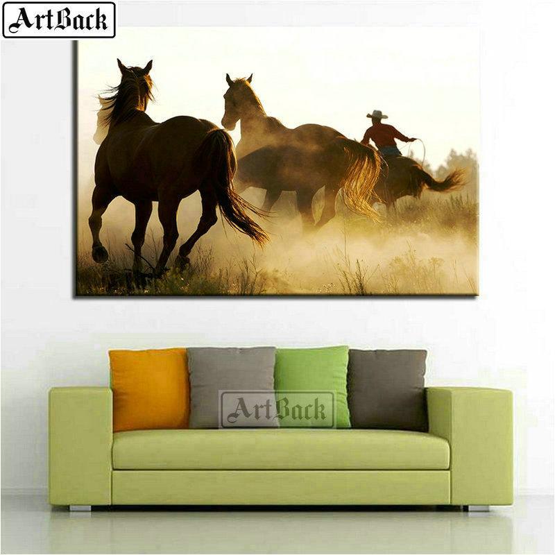 >5d diy diamond painting horse full square animal <font><b>prairie</b></font> rhinestone diamond mosaic sticker <font><b>home</b></font> decoration crafts