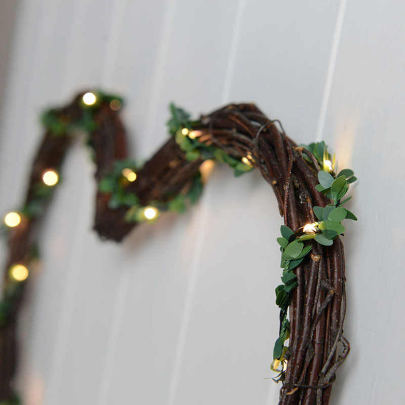 Cyuan 2m Kunstmatige Ivy Garland Fake Leaf Planten Wijnstok met 20 LED String Licht Groene Bloemen Opknoping voor Bruiloft verjaardagsfeestje