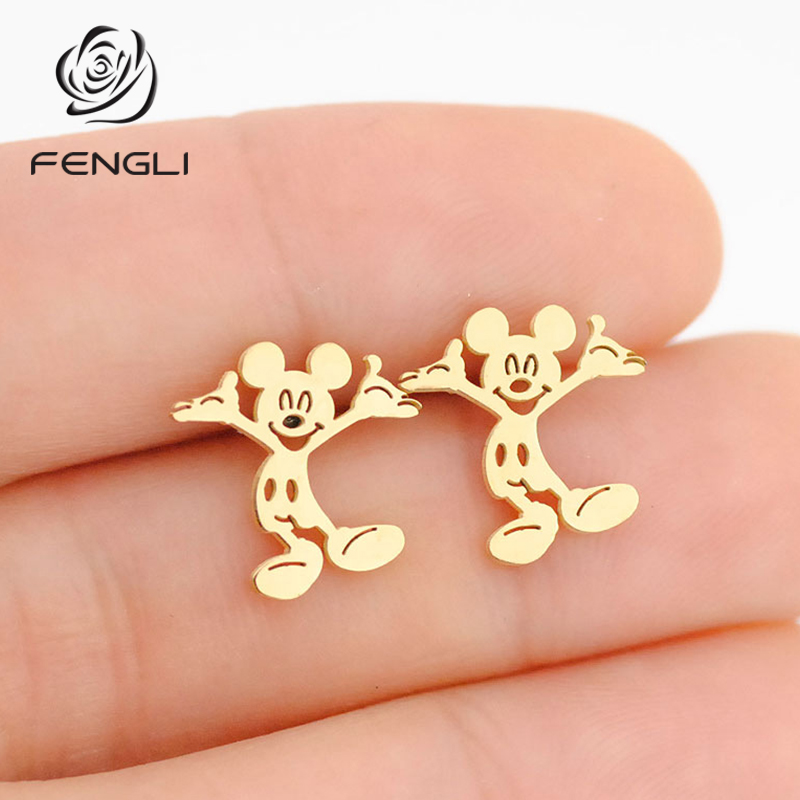 FENGLI Mickey Gold Stud Earrings Cute Animal Mouse Earring Cartoon Children Lady Jewelry Stainless Steel Accessories Gift
