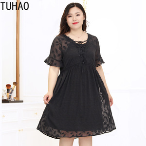 TUHAO 2019 10XL 9XL 8XL Большие размеры женское летнее шифоновое платье черное элегантное женское платье большого размера два Pice женские платья WM13