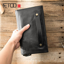 AETOO Men's leather long wallet, features casual soft leather handbag, head leather clutch bag