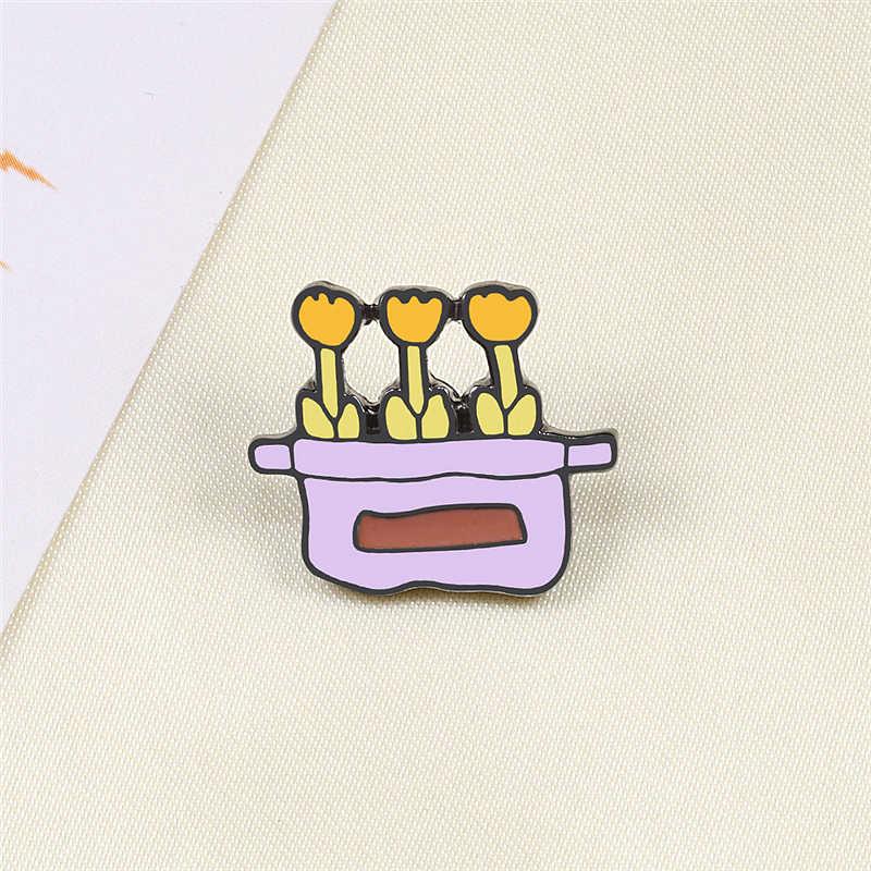 Ayçiçeği saksı bitki Metal emaye broş moda karikatür kaktüs rozetleri Pin sevimli sırt çantası ceket yaka iğneler takı aksesuarları