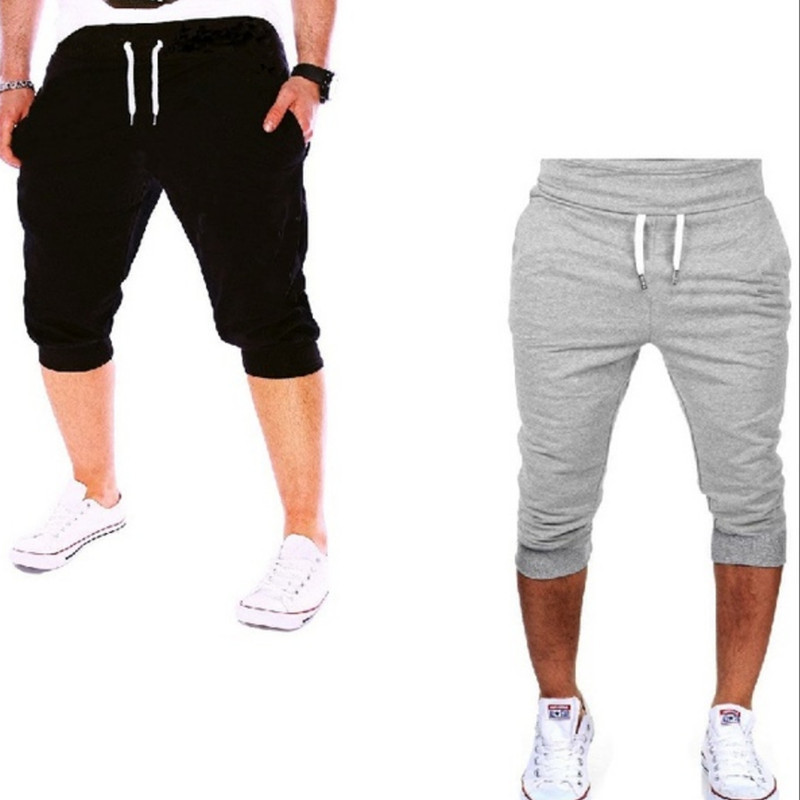 Hot Selling Europe And America Casual Sports Slim Fit Solid Color Short Jogger Pants Men With Drawstring Closed Lapel