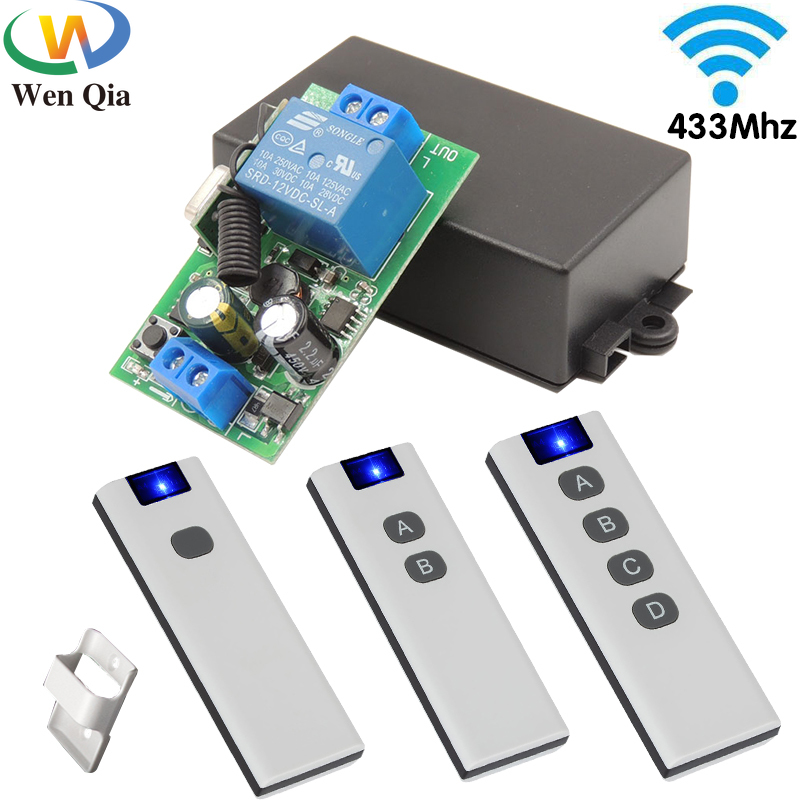 433Mhz Smart Home Push Button Light Switches Universal Wireless Remote Control AC 100V 220V 10Amp Relay Receiver for Led Fan